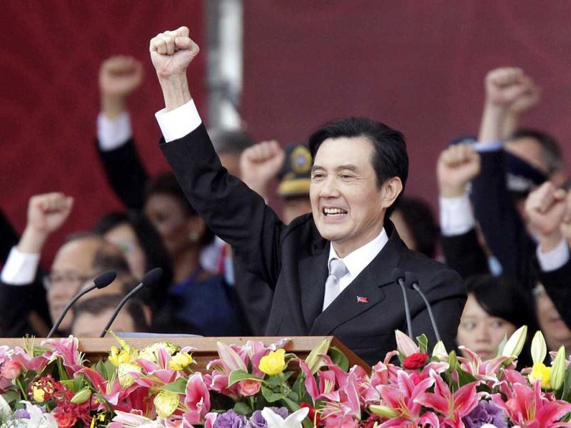 Taiwan's President Ma Ying-jeou raises his fist after giving a speech during National Day celebrations in front of the Presidential office in Taipei. Reuters/Pichi Chuang