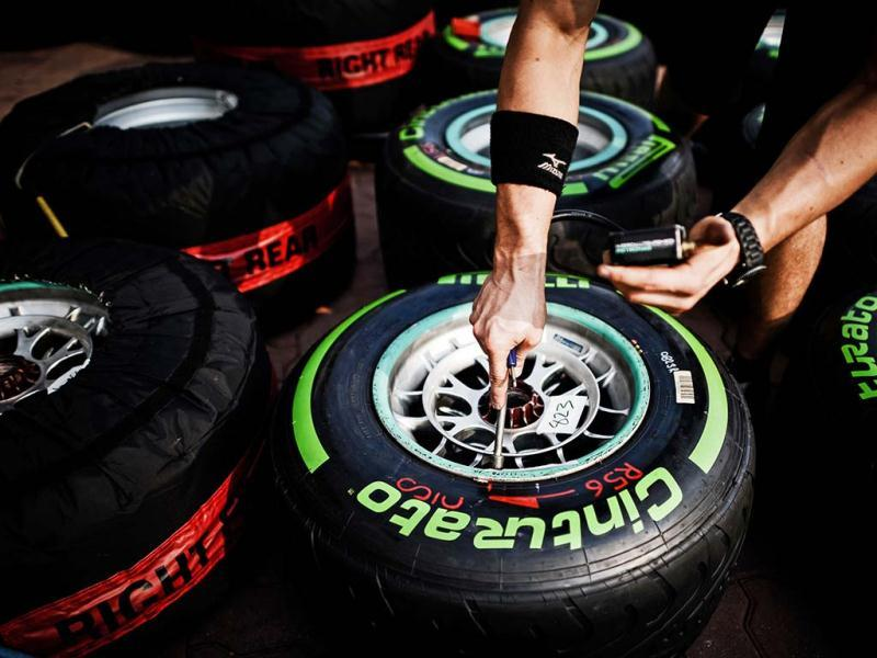A mechanic checks tyres in the paddock of the circuit for the Formula One Korean Grand Prix in Yeongam. AFP photo
