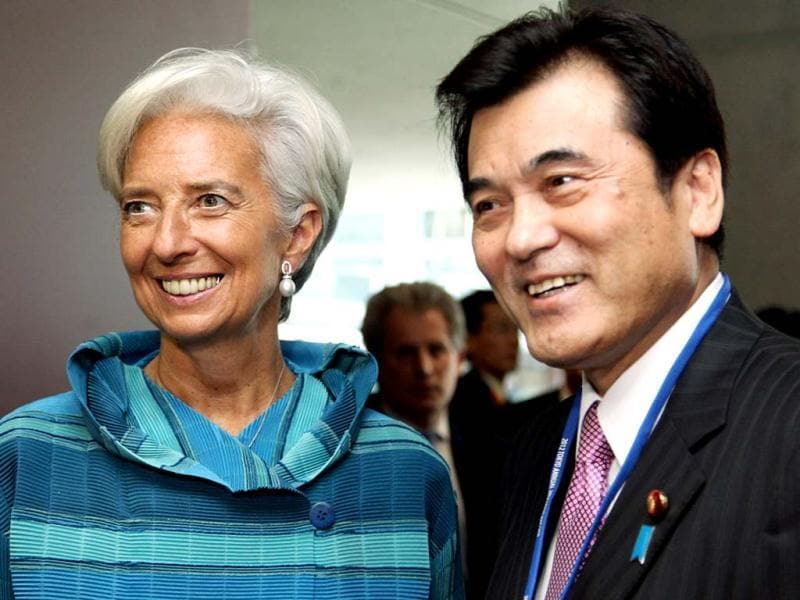 Japan's finance minister Koriki Jojima (R) meets with International Monetary Fund (IMF) managing director Christine Lagarde during their bilateral meeting on the sidelines of the annual meetings of IMF and the World Bank Group in Tokyo. AFP photo