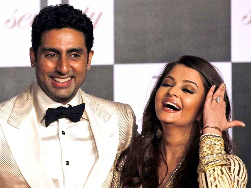 Abhishek Bachchan and Aishwarya Rai Bachchan share a good laugh. But where's baby Aaradhya?