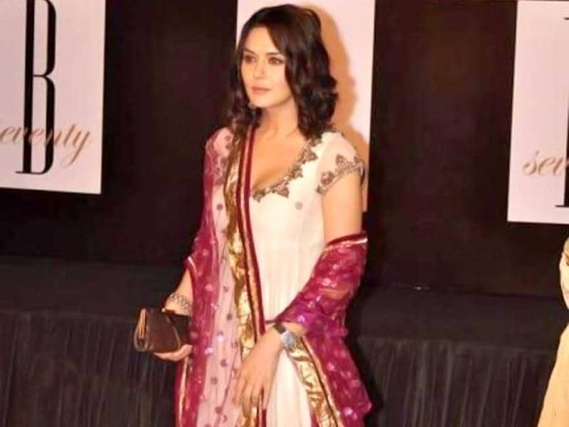Preity Zinta looks fresh as ever in a bright churidar suit.