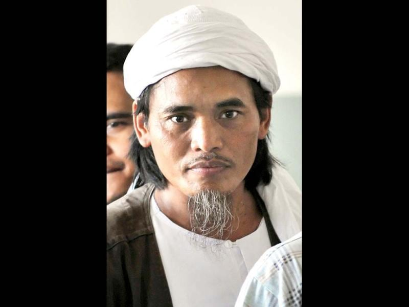 A file photo showing convicted Bali bomber Amrozi bin Nurhasyim, inside the Batu prison on the Indonesian island of Nusa Kambangan. AFP Photo