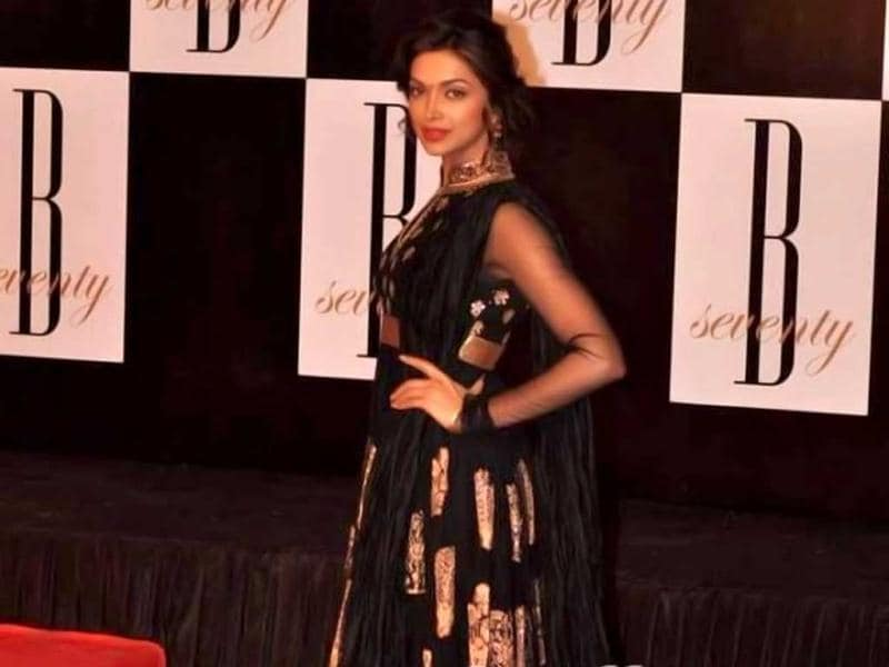 Deepika Padukone in a black anarkali looks beautiful.