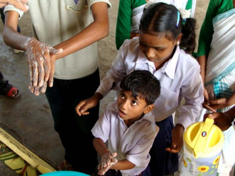Unicef works with Sarva Siksha Abhiyan and Integrated Child Development Services, to promote hygiene water and sanitation services in schools, Anganwadi and health centers to promote hygiene practices. Photo courtesy: Unicef