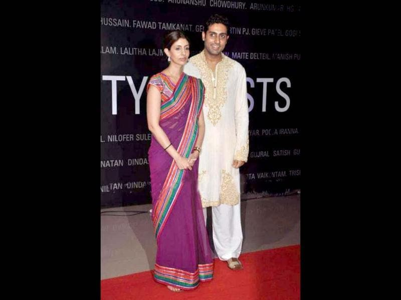 Abhishek Bachchan along with sister Shweta Nanda at the art exhibition. B-Seventy art show which was inaugurated by Kokilabein Ambani at Nehru Centre.