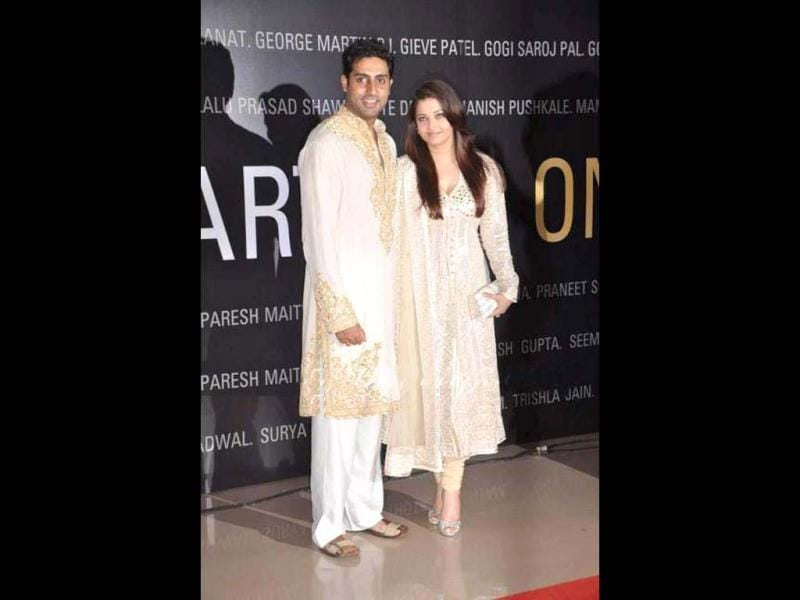 Abhishek Bachchan and Aishwarya Rai Bachchan pose during the B-Seventy art exhibition in Mumbai recently.