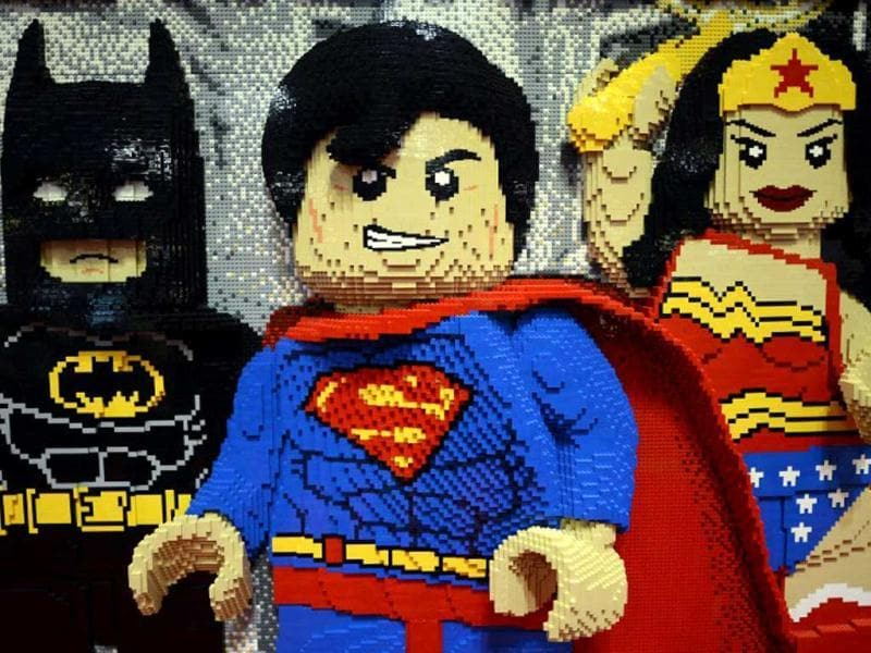Lego superheroes (L-R) Batman, Superman and Wonder Woman on display (AFP / Timothy A. Clary)