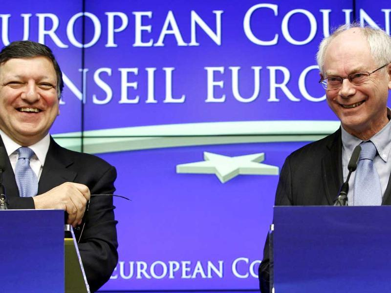 European Commission president Jose Manuel Barroso and European Council President Herman Van Rompuy attend a joint news conference at a European Union leaders summit in Brussels. The European Union won the Nobel Peace Prize. Reuters/Thierry Roge