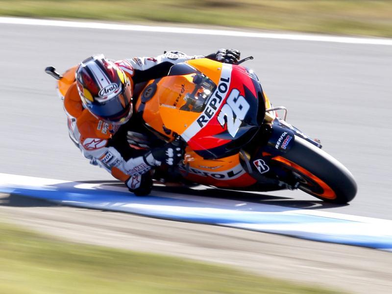Honda MotoGP rider Dani Pedrosa of Spain rides during a free practice session for Japanese Grand Prix in Motegi, north of Tokyo. Reuters photo