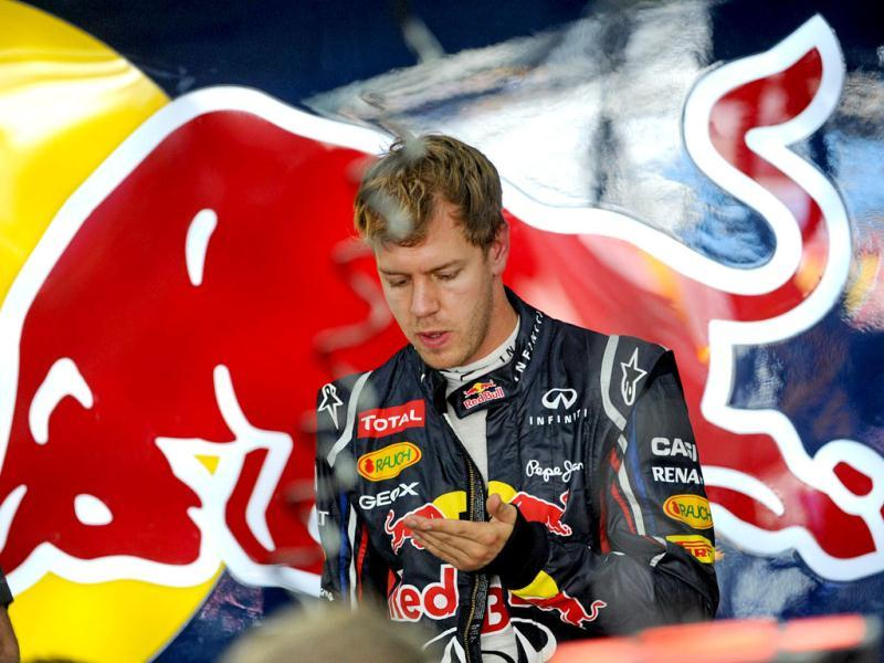 Red Bull driver Sebastian Vettel of Germany is seen in the garage after the third practice session of the Formula One Korean Grand Prix in Yeongam. AFP photo