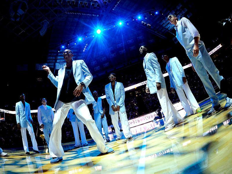 The North Carolina Tar Heels basketball team dances during the annual Late Night with Roy Williams season kickoff at the Dean Smith Center in Chapel Hill, North Carolina. AFP photo