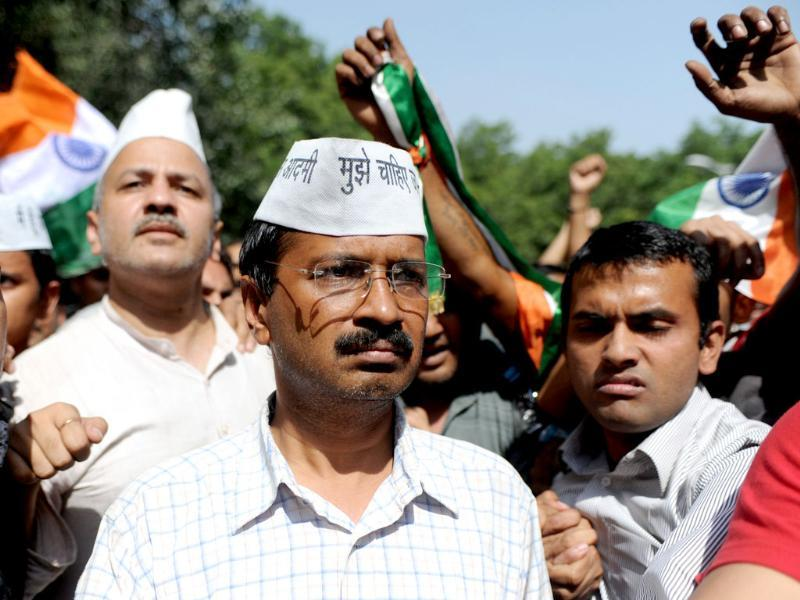 IAC activist Arvind Kejriwal delivers a speech at Jantar Mantar after he was released from Bawana Jail in New Delhi. AFP/Sajjad Hussain