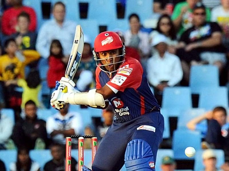 Delhi Daredevils Mahela Jayawardene plays a shot from Kalkata Knight Riders Brett Lee during a Group A match of the Champions League T20 at Super Sports Park in Centurion. AFP Photo