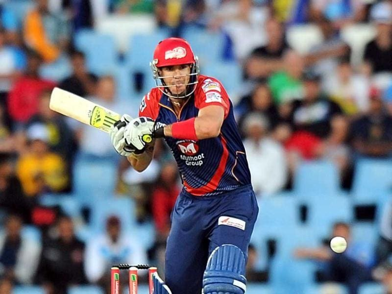 Delhi Daredevils cricketer Kevin Pietersen plays a shot during a Group A match against the Kolkata Knight Riders in the Champions League T20 at the Super Sports Park in Centurion. AFP Photo