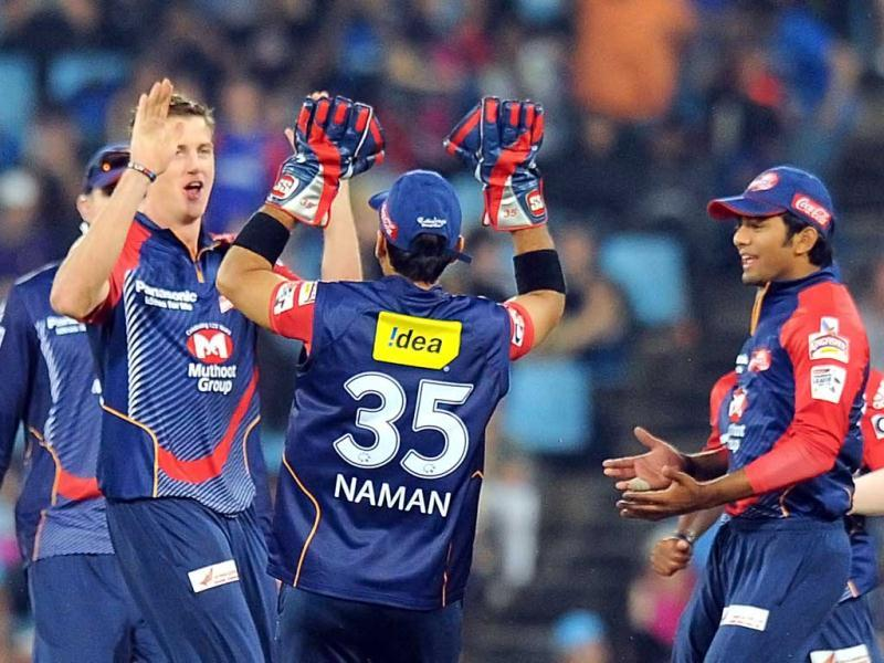 Delhi Daredevils bowler Morne Morkel celebrates after taking the wicket Kolkata Knight Riders Brendon McCullum during a Group A match of The Champions League T20 (CLT20) at Super Sports Park in Centurion. AFP Photo