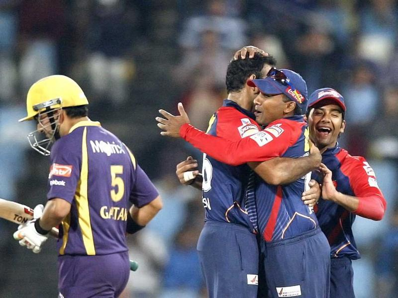 Delhi Daredevils's bowler Irfan Pathan celebrates with teammates after dismissing Kolkata Knight Riders's Gautam Gambhir during the Champions League Twenty20 cricket match at the Centurion Park in Pretoria. AP Photo