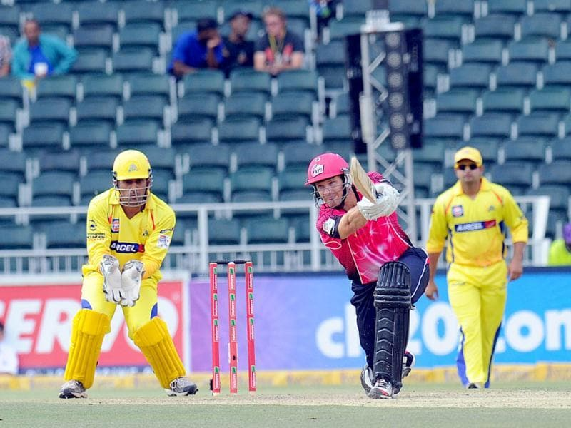 Sydney Sixers batsman Moises Henriques plays a shot during a Group B match of the Champions League T20 between the CSK and the Sydney Sixers at the Wanderers Stadium in Johannesburg. AFP photo