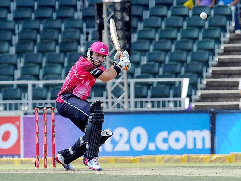 Sydney Sixers batsman Michael Lumb plays a shot during a Group B match of the Champions League T20 between the CSK and the Sydney Sixers at the Wanderers Stadium in Johannesburg. AFP photo