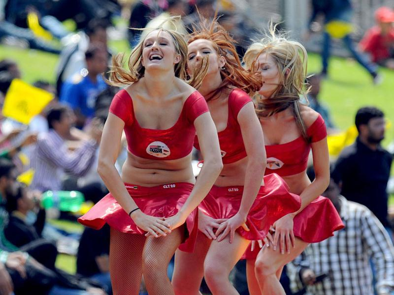 Cheerleaders perform during a Group B match of the Champions League T20 between the Chennal Super Kings and the Sydney Sixers at the Wanderers Stadium in Johannesburg. AFP photo
