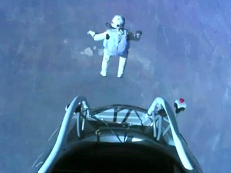 This image made from video, provided by Red Bull Stratos, shows Felix Baumgartner as he jumps out of the capsule during the final manned flight for Red Bull Stratos. AP/Red Bull Stratos