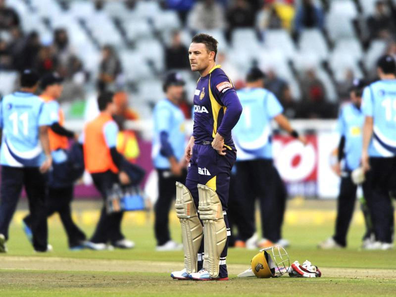 Brendon McCullum of the Kolkata Knight Riders reacts during a match of the Champions League T20 (CLT20) between the Auckland Aces and the Kolkata Knight Riders at the Newlands Stadium in Cape Town. AFP PHOTO / Roger Sedres
