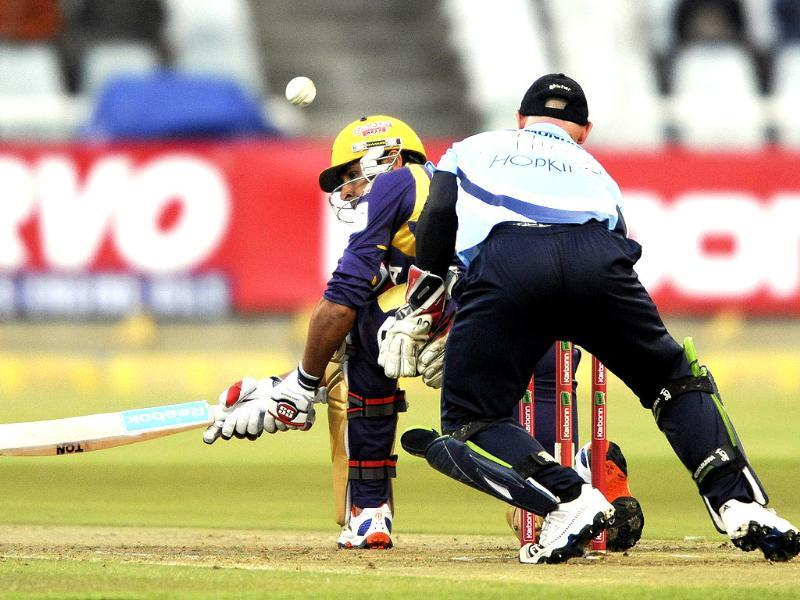 Manvinder Bisla (L) of the Kolkata Knight Riders plays a shot during a match of the Champions League T20 (CLT20) between the Auckland Aces and the Kolkata Knight Riders at the Newlands Stadium in Cape Town. AFP PHOTO/Roger Sedres