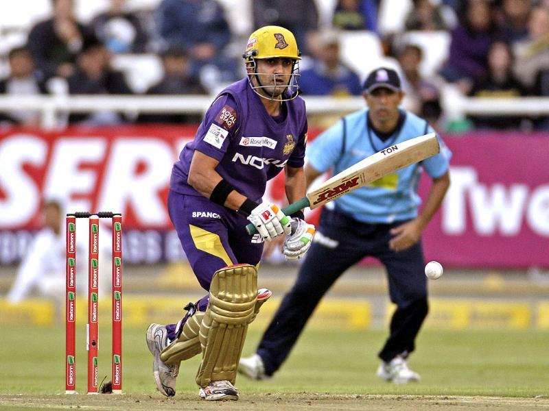 Kolkata Knight Gautam Gambhir plays a shot during the Champions League Twenty20 cricket game against Auckland Aces in Cape Town, South Africa. (AP Photo/Schalk van Zuydam)