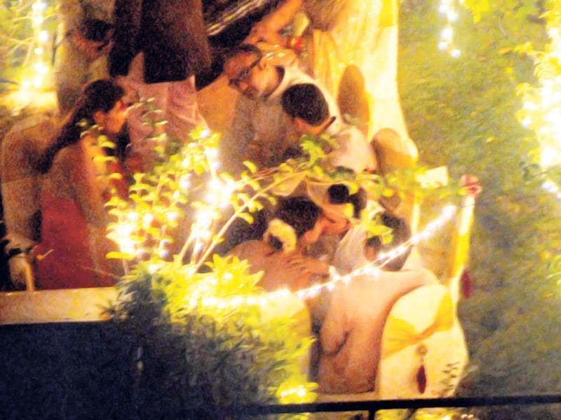 Everyone had a good time at Saif Ali Khan and Kareena Kapoor's first night of wedding celebrations. Saif kisses his wife-to-be Kareena in this picture.