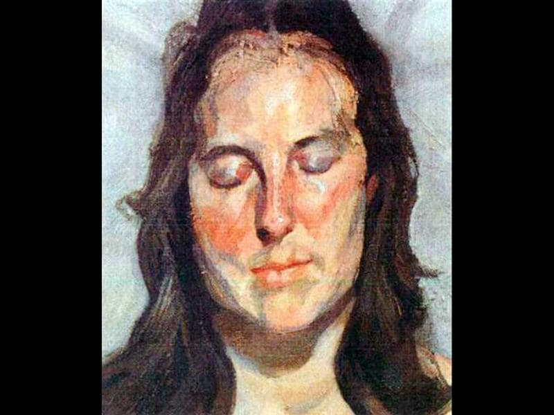 This photo released by the police in Rotterdam, Netherlands, shows the 2002 painting 'Woman with Eyes Closed' by Lucian Freud. Dutch police say seven paintings stolen from the Kunsthal museum in Rotterdam include one by Pablo Picasso, one by Henri Matisse, and two by Claude Monet. The heist, one of the largest in years in the Netherlands, occurred while the private Triton Foundation collection was being exhibited publicly as a group for the first time. (AP Photo/Police Rotterdam)