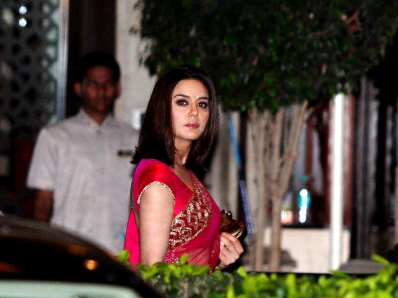 Actress Preity Zinta looks pretty in pink as she arrives at the venue. (Photo/Prodip Guha)