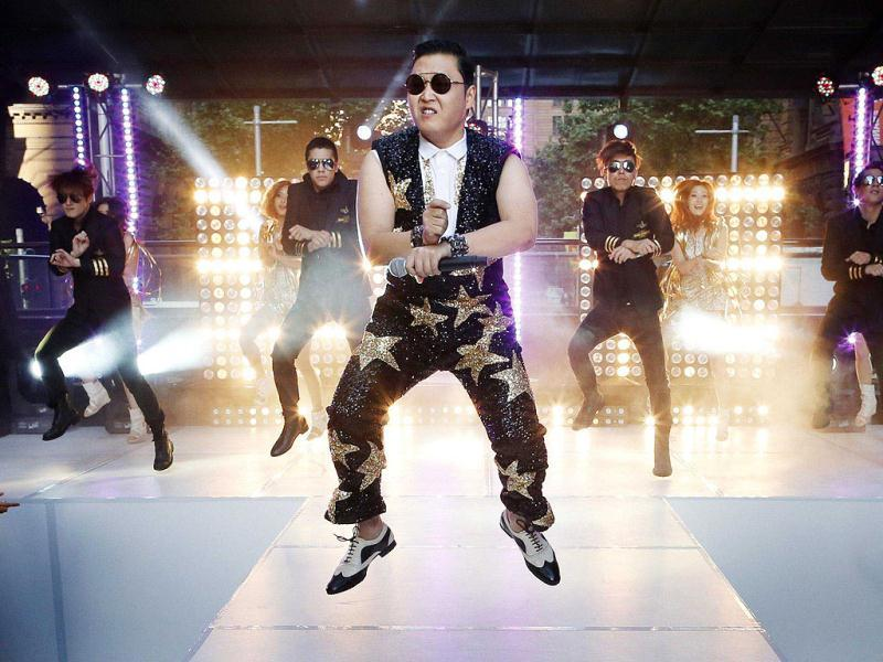 South Korean singer Psy performs his hit 'Gangnam Style' during a morning television appearance in central Sydney. Hundreds of fans came to see Psy's free performance of his chart topping hit which has been watched more than 478 million times on YouTube since July. Reuters/Uni