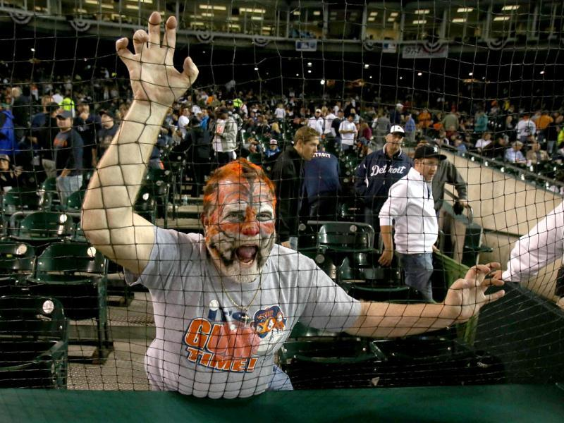 A fan of the Detroit Tigers supports his team against the New York Yankees during game four of the American League Championship Series at Comerica Park. AFP photo