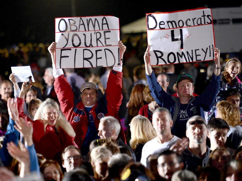 US Republican presidential candidate Mitt Romney supporters attend a campaign rally at Ida Lee Park in Leesburg, Virginia. AFP photo