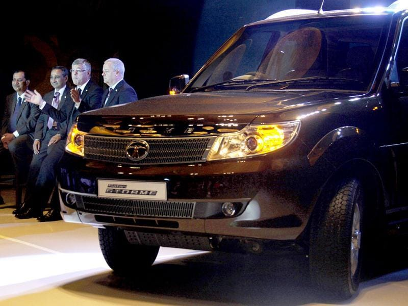 Tata Motors' vice president - commercial Neeraj Garg, president Ranjeet Yadav, MD Karl Slym and head advanced and product engineering Timothy Levrton during Tata Safari Storme launch, in Gurgaon. HT photo