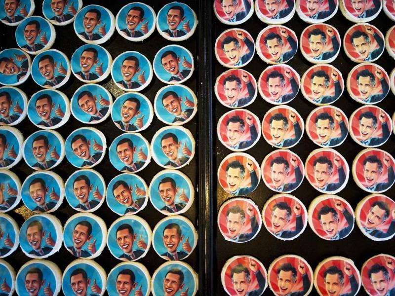 Election cookies of US President Barack Obama and Republican presidential candidate Mitt Romney are displayed at the Oakmont Bakery in Oakmont, Pennsylvania. The images of the candidates are printed on icing paper with food coloring. Currently, Romney is ahead in the tally over Obama, 350 cookies purchased to 331. (AFP Photo)