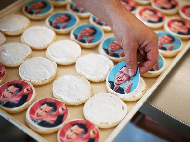 Election cookies of US President Barack Obama and Republican presidential candidate Mitt Romney are made at the Oakmont Bakery in Oakmont, Pennsylvania.