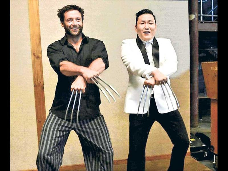 Psy teaches 'Wolverine' Hugh Jackman the moves.