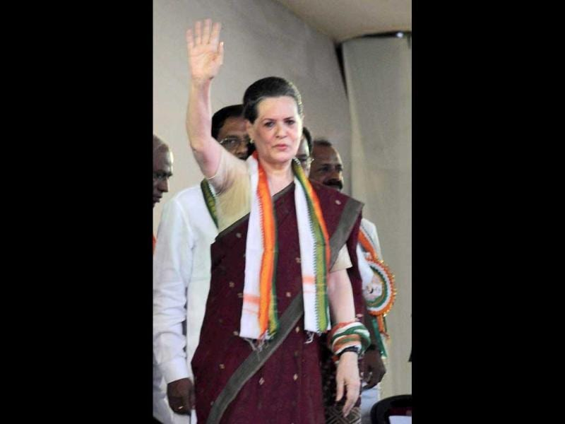Congress Party president Sonia Gandhi addresses a public rally in Mangalore. PTI