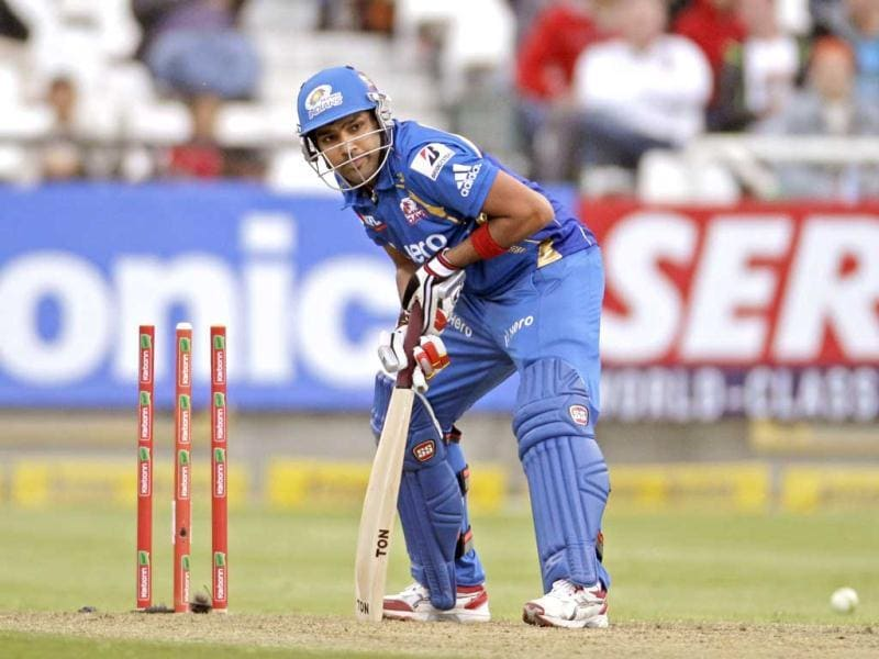 Mumbai Indians Rohit Sharma, looks up after the ball hit his wicket against Yorkshire during the Champions League Twenty20 in Cape Town. AP Photo/Schalk van Zuydam