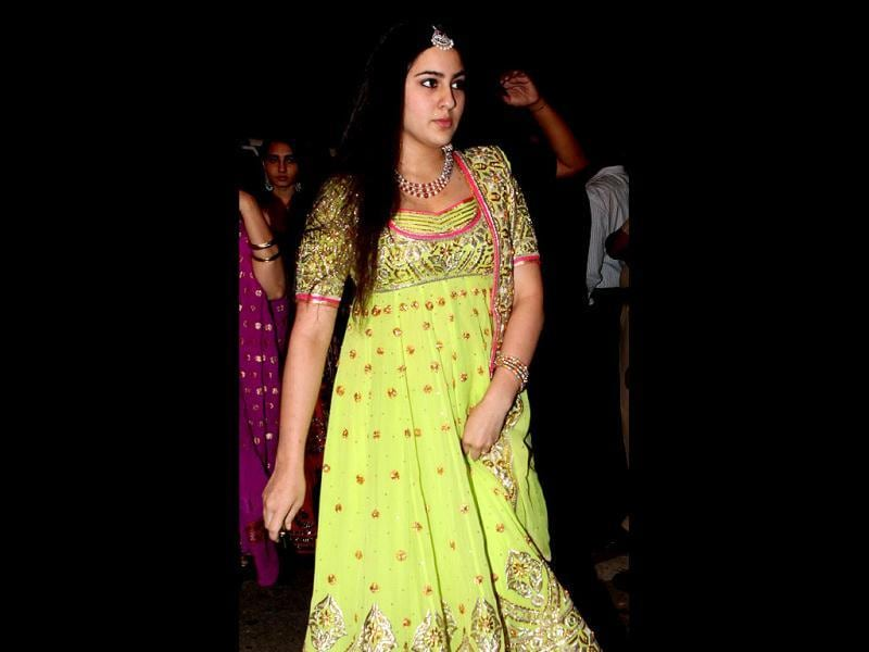 Sara Ali Khan, Saif's daughter, was clad in a green anarkali. (Photo/Manoj Verma)