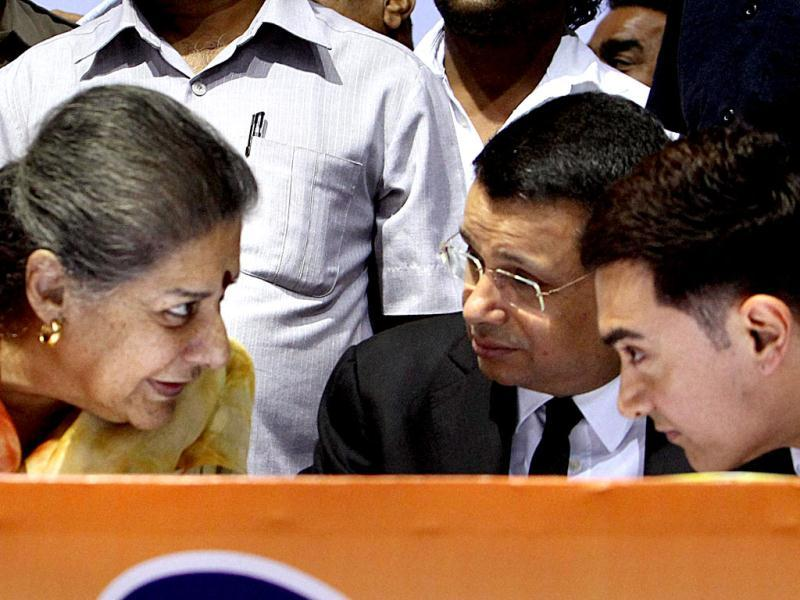 Minister Ambika Soni with Bollywood actor Aamir Khan at an award function in New Delhi on Thursday. (PTI Photo)