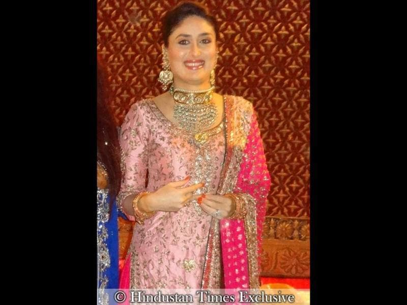 New bride Kareena Kapoor is glowing with joy in the pink ensemble.