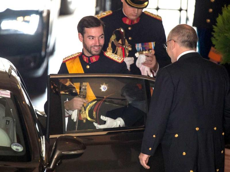 Luxembourg's Prince Guillaume smiles as he leaves the Grand Ducal Palace in Luxembourg. AP Photo