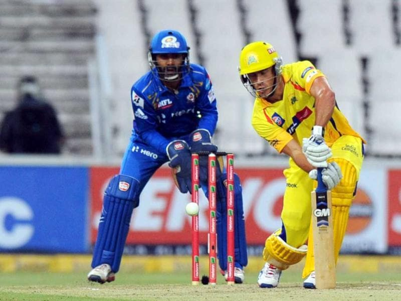 Chennai Super Kings batsman Francois Du Plessis (R) plays a shot during the Champions League T20 (CLT20) game between Chennai Super Kings and Mumbai Indians at the Wanderers Stadium in Johannesburg. AFP Photo/Alexander Joe