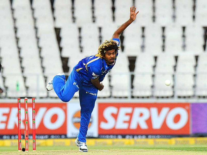 Mumbai Indians bowler Lasith Malinga throws the ball during the Champions League T20 (CLT20) game between Chennai Super Kings and Mumbai Indians at the Wanderers Stadium in Johannesburg. AFP Photo/Alexander Joe