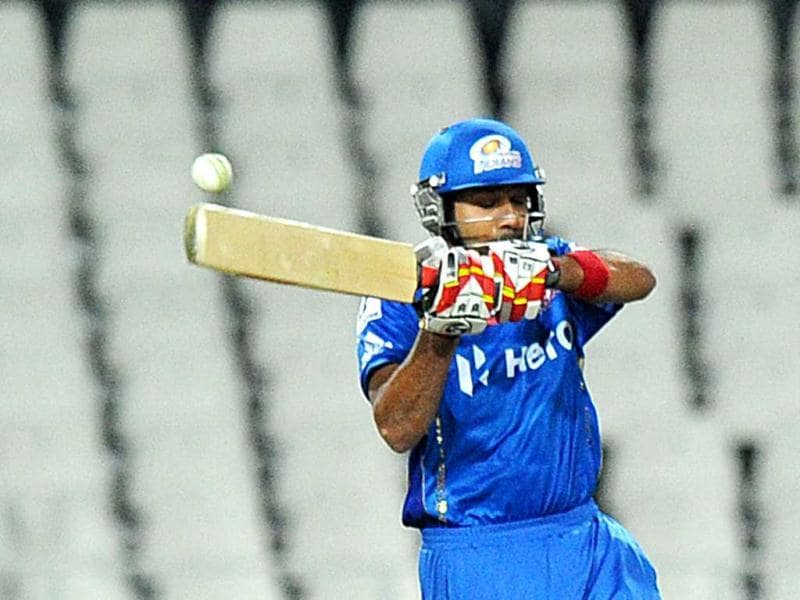 Mumbai Indians batsman Rohit Sharma plays a shot during a Group B Champions League T20 (CLT20) match against Chennal Super Kings at Wanderers Stadium in Johannesburg. AFP Photo/Alexander Joe