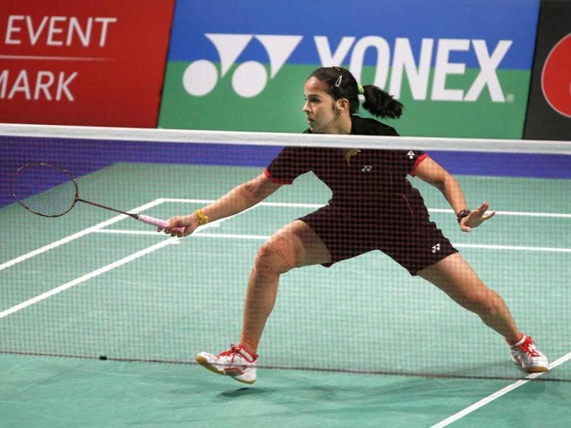 Saina Nehwal in action during the Denmark Open woman's single finale badminton match against Juliane Schenk of Germany in Odense, Denmark. 2012. AP Photo