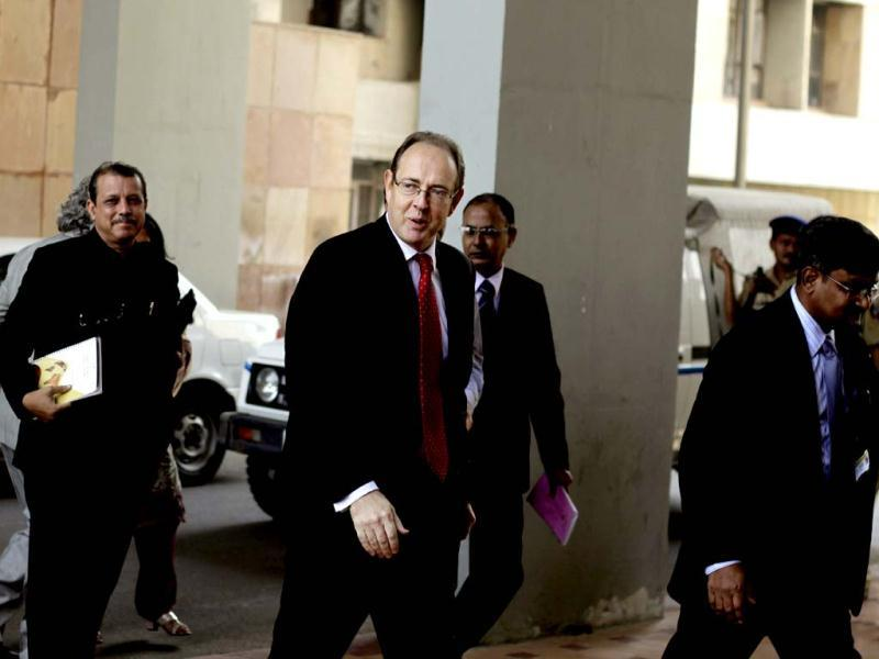 British high commissioner to India James Bevan arrives to attend a meeting with Gujarat state chief minister Narendra Modi at Gandhinagar. (AP photo/Ajit Solanki)