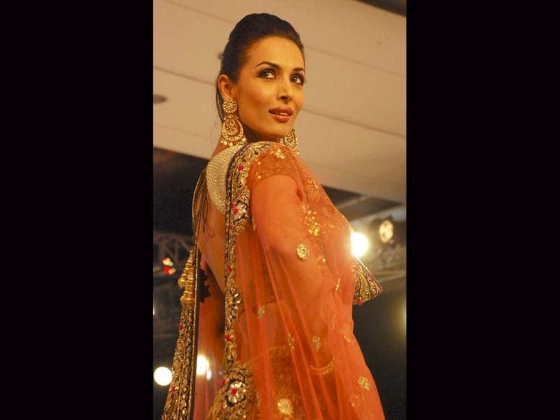 Malaika Arora walks for Vikram Phadnis at Blenders Pride Fashion Tour in Gurgaon.