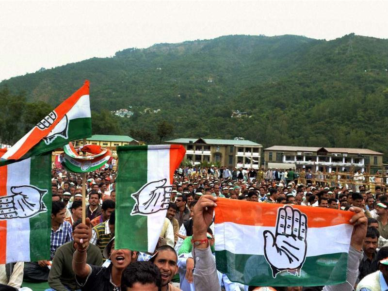 Supporters at Congress president Sonia Gandhi's election rally in Mandi, Himachal Pradesh. PTI Photo
